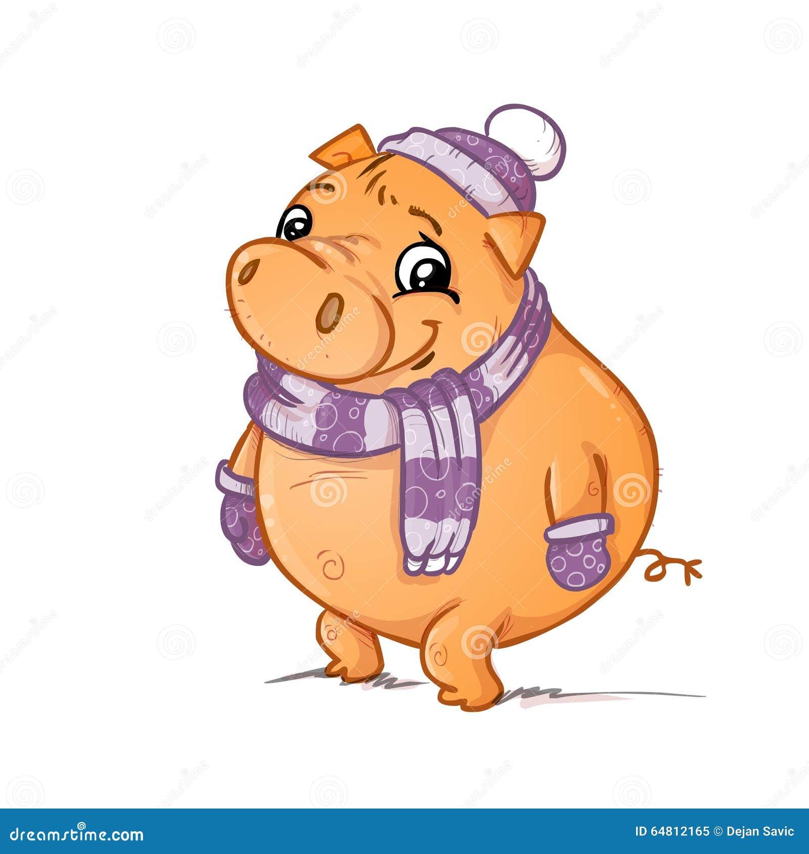 与围巾手套和帽子的一头猪