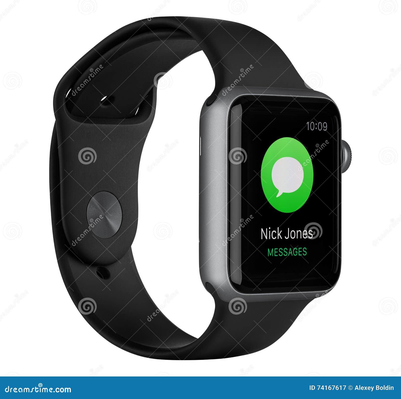 与黑带的苹果计算机手表体育42mm空间灰色铝盒