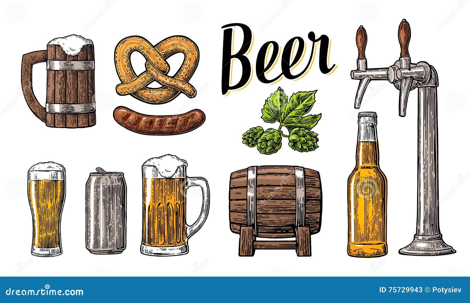 与轻拍,类的啤酒集合,能,瓶、桶、香肠、椒盐脆饼和蛇麻草 葡萄酒传染媒介网的板刻例证