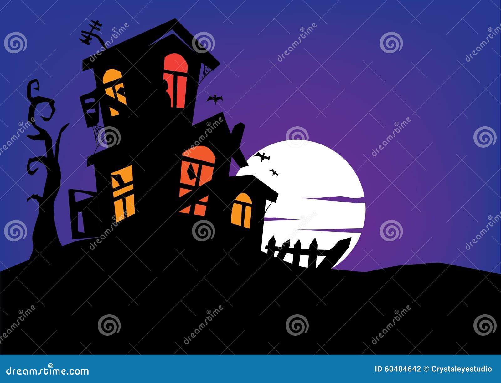 与满月的被困扰的豪宅在背景中