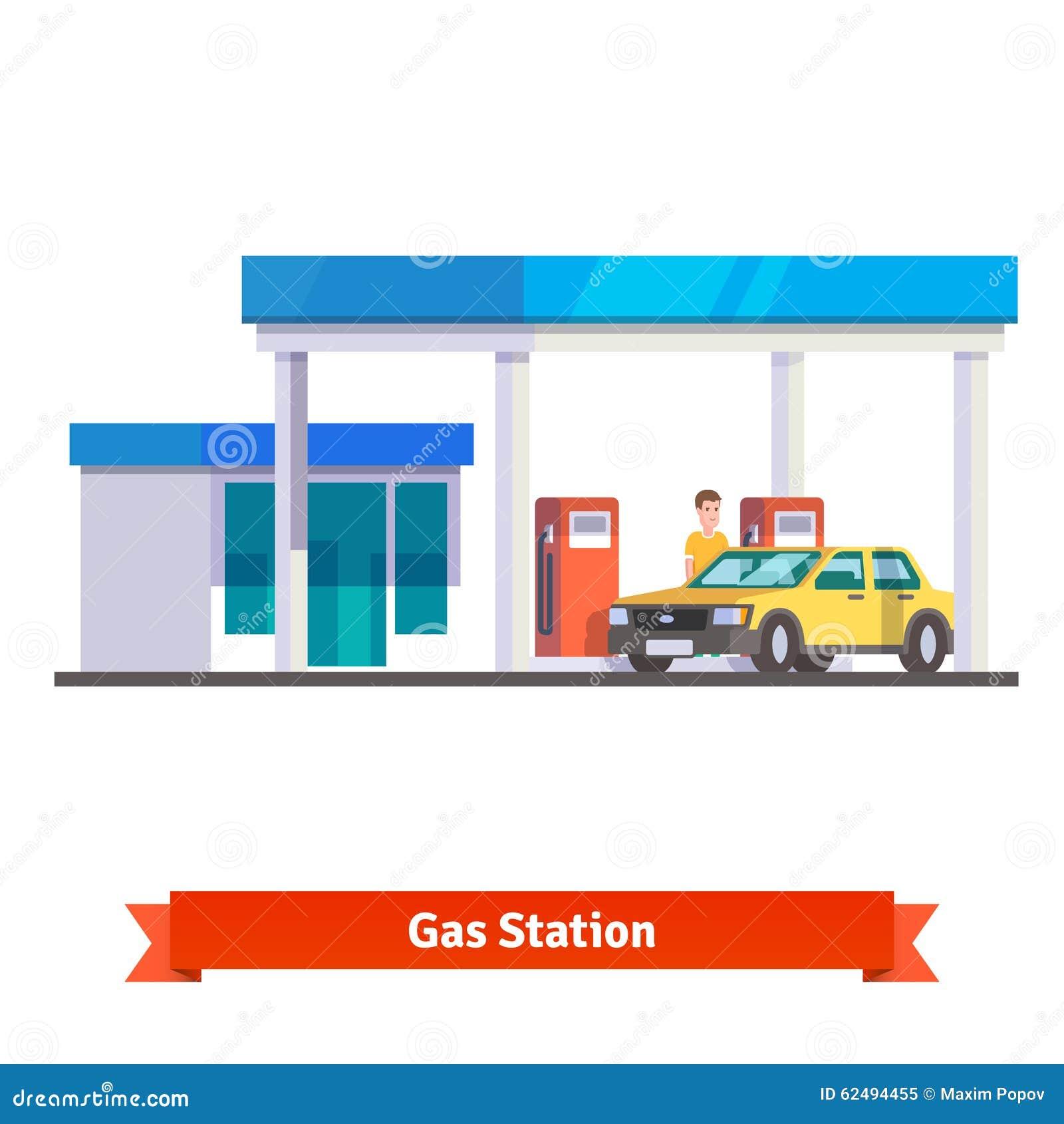 与给汽车加油的人的加油站