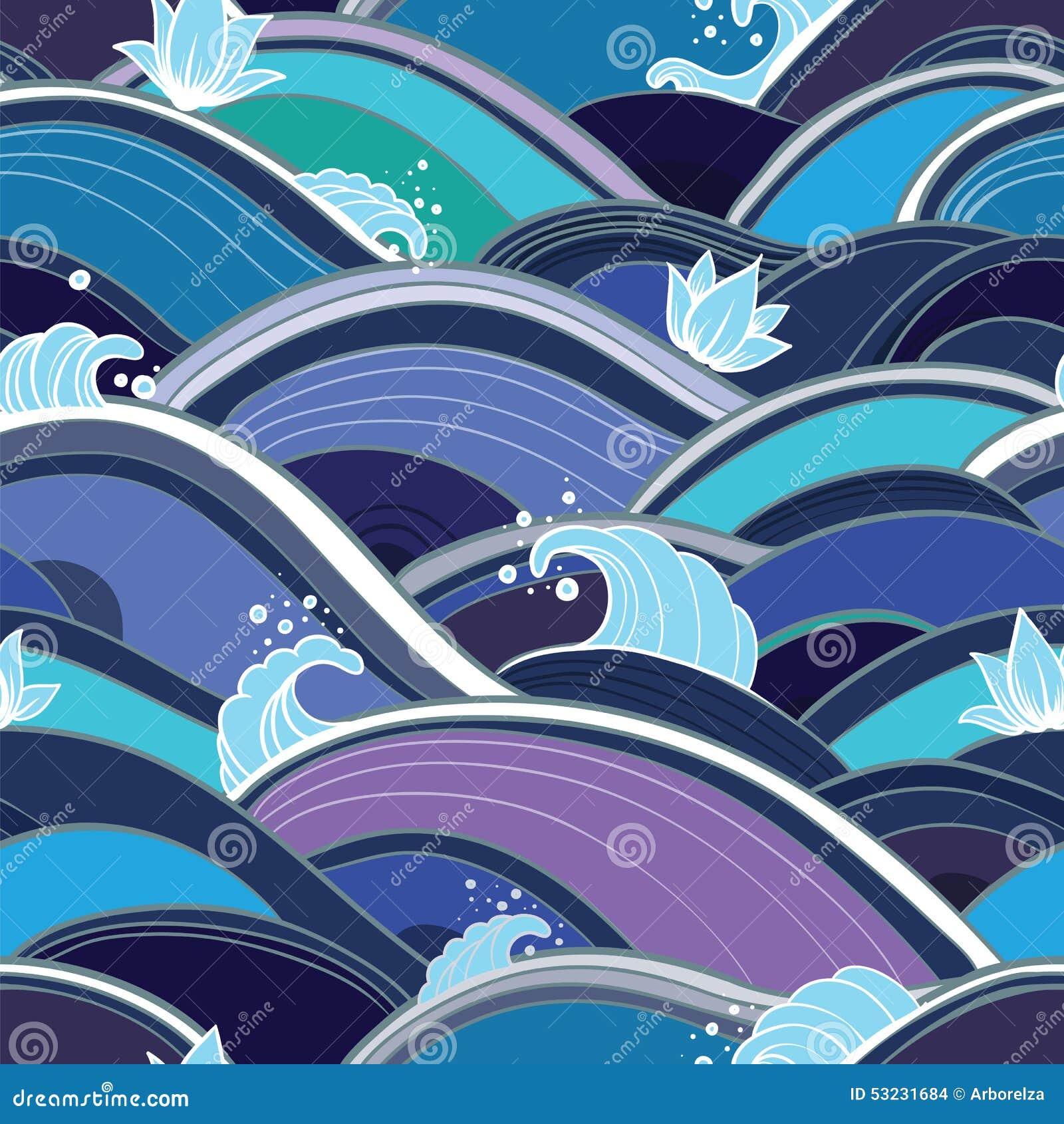与水波和百合的无缝的样式