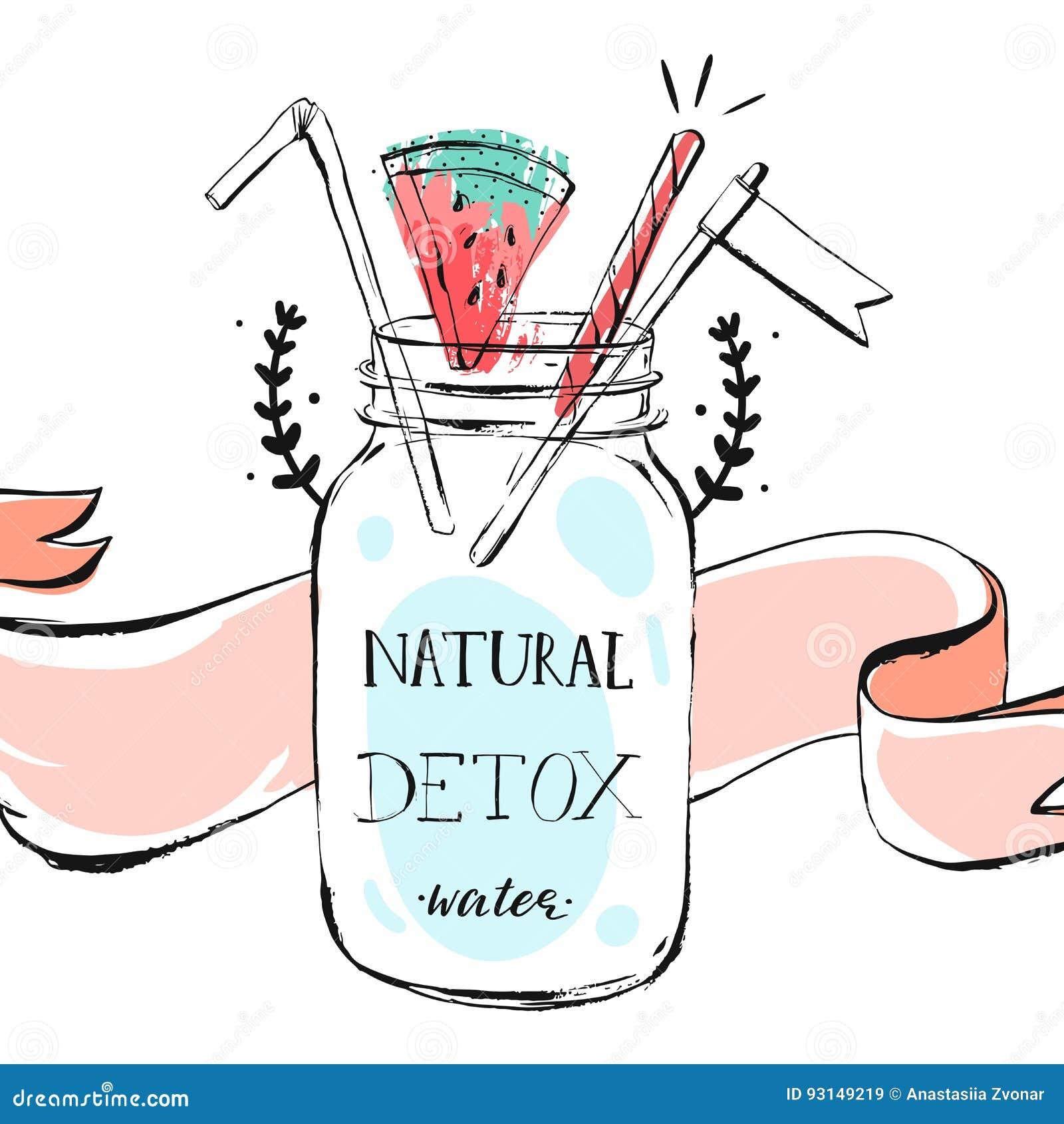 与玻璃瓶瓶子, watermellon,丝带的手拉的传染媒介摘要夏时柠檬水倒栽跳水例证和