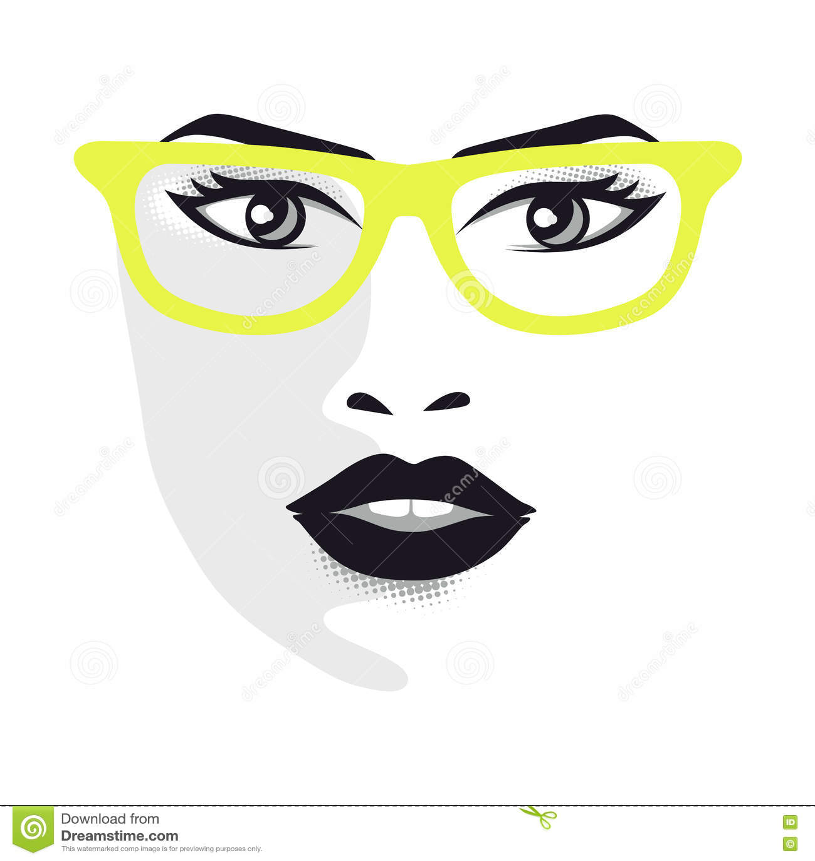 与玻璃的妇女面孔设计师的-导航例证灰色