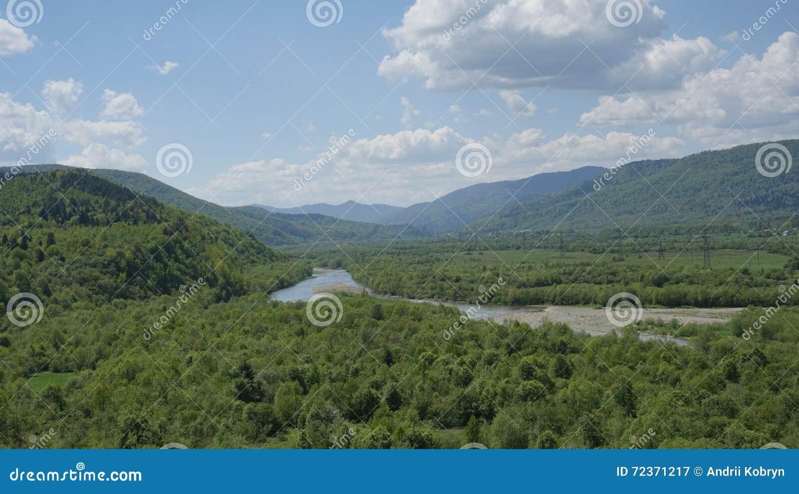 与绿色山森林和蓝色河的惊人的风景前面的 喀尔巴阡山脉的山顶视图