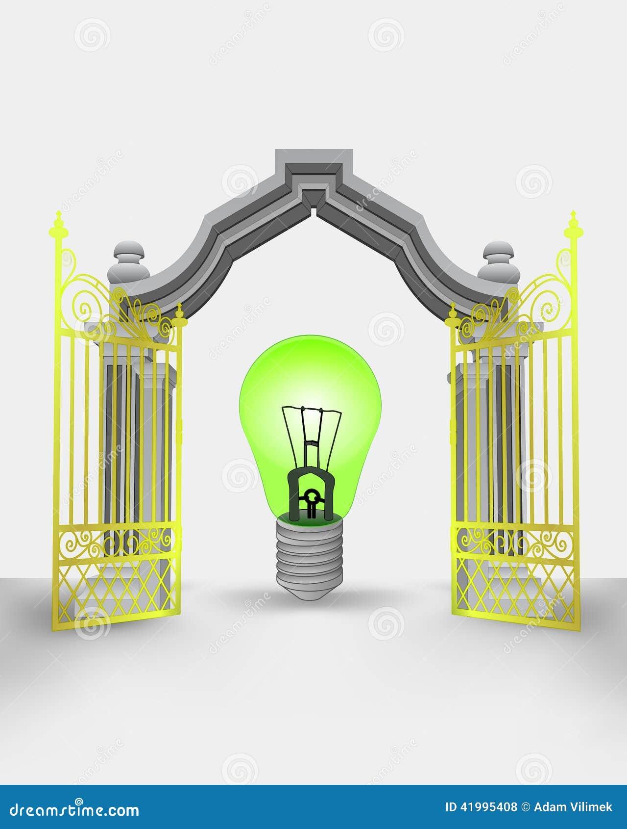 与绿色生态电灯泡的金门入口