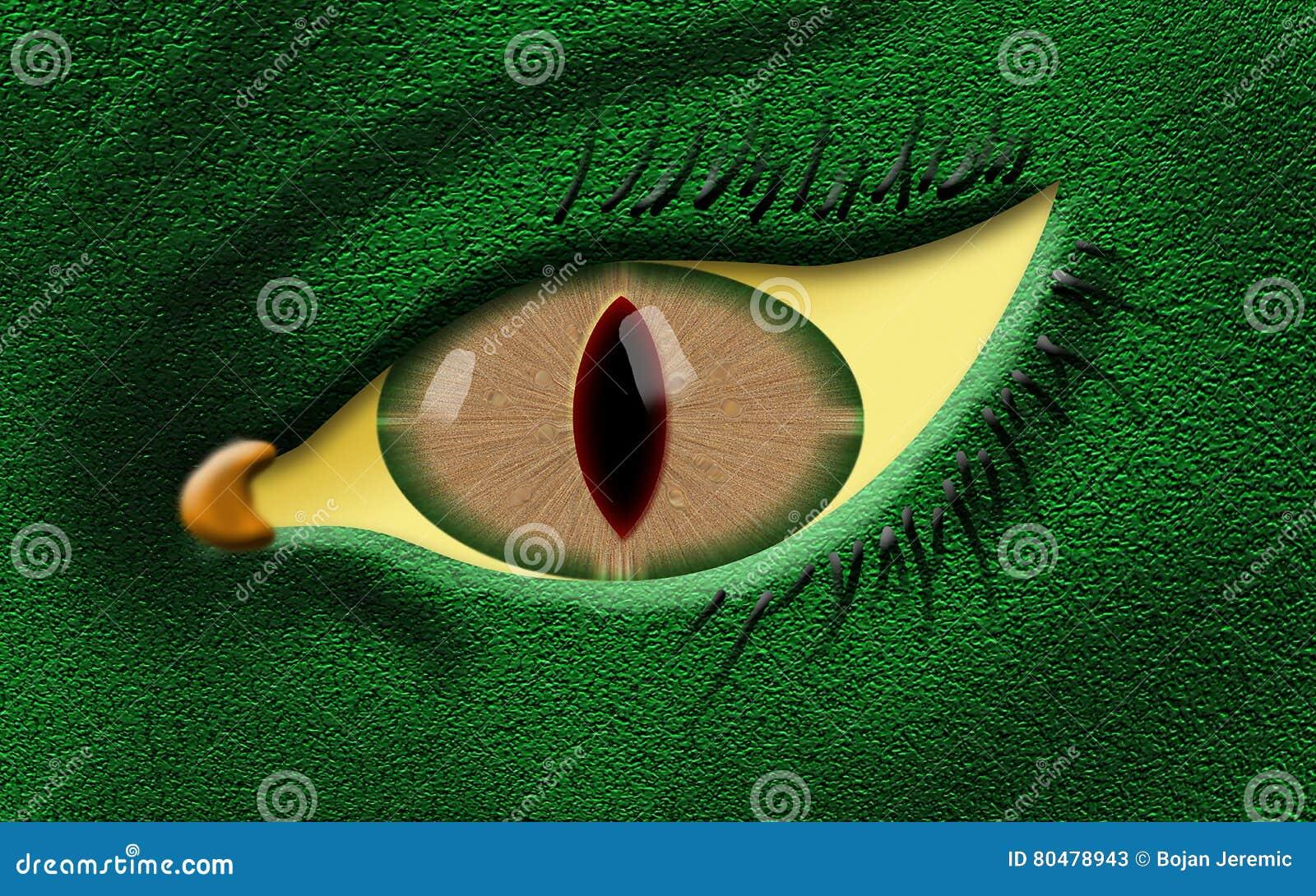 与绿色肤色的邪恶的龙眼睛