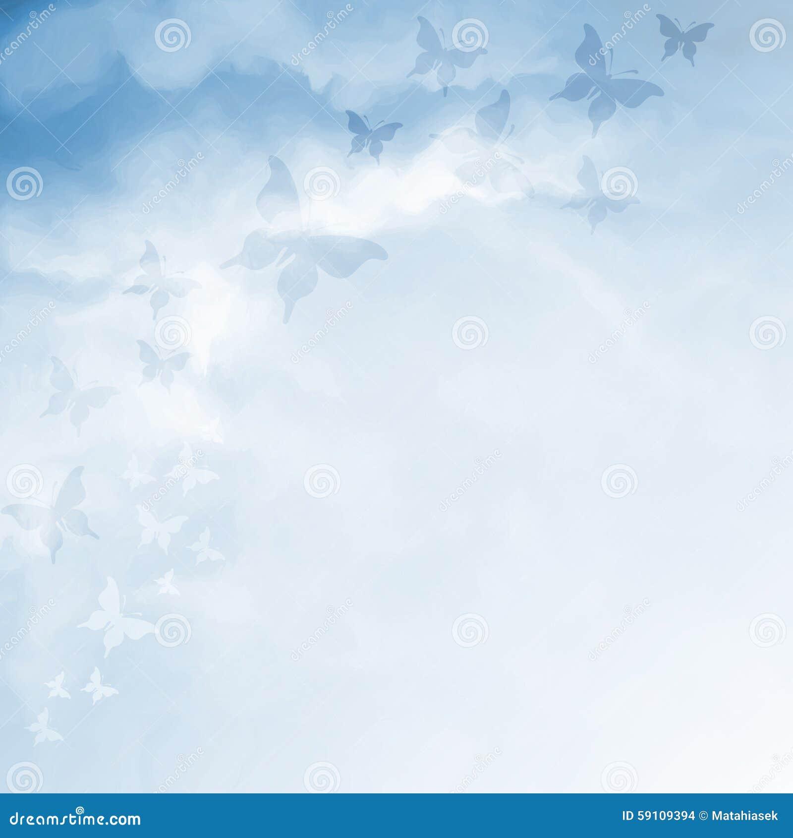 与蝴蝶和拷贝空间的蓝天图画