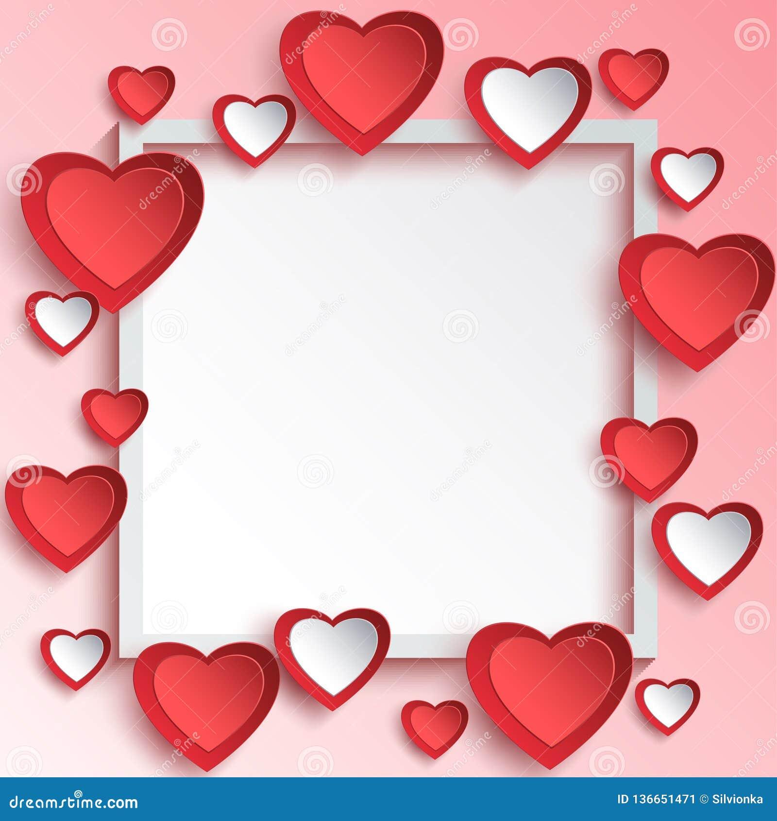 与3d纸心脏的抽象情人节背景