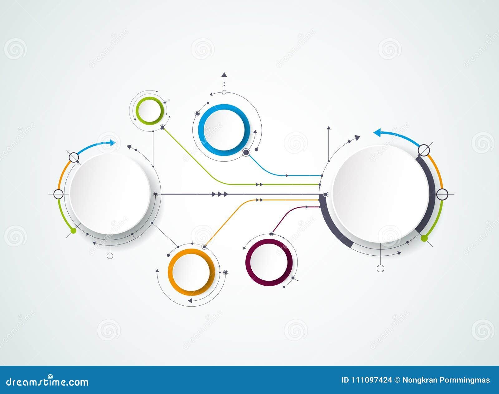 与3D纸标签的传染媒介抽象分子,联合圈子 内容的空白