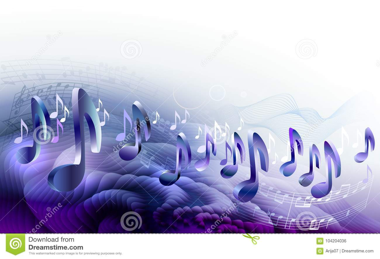 与3d音符的抽象活页乐谱设计背景