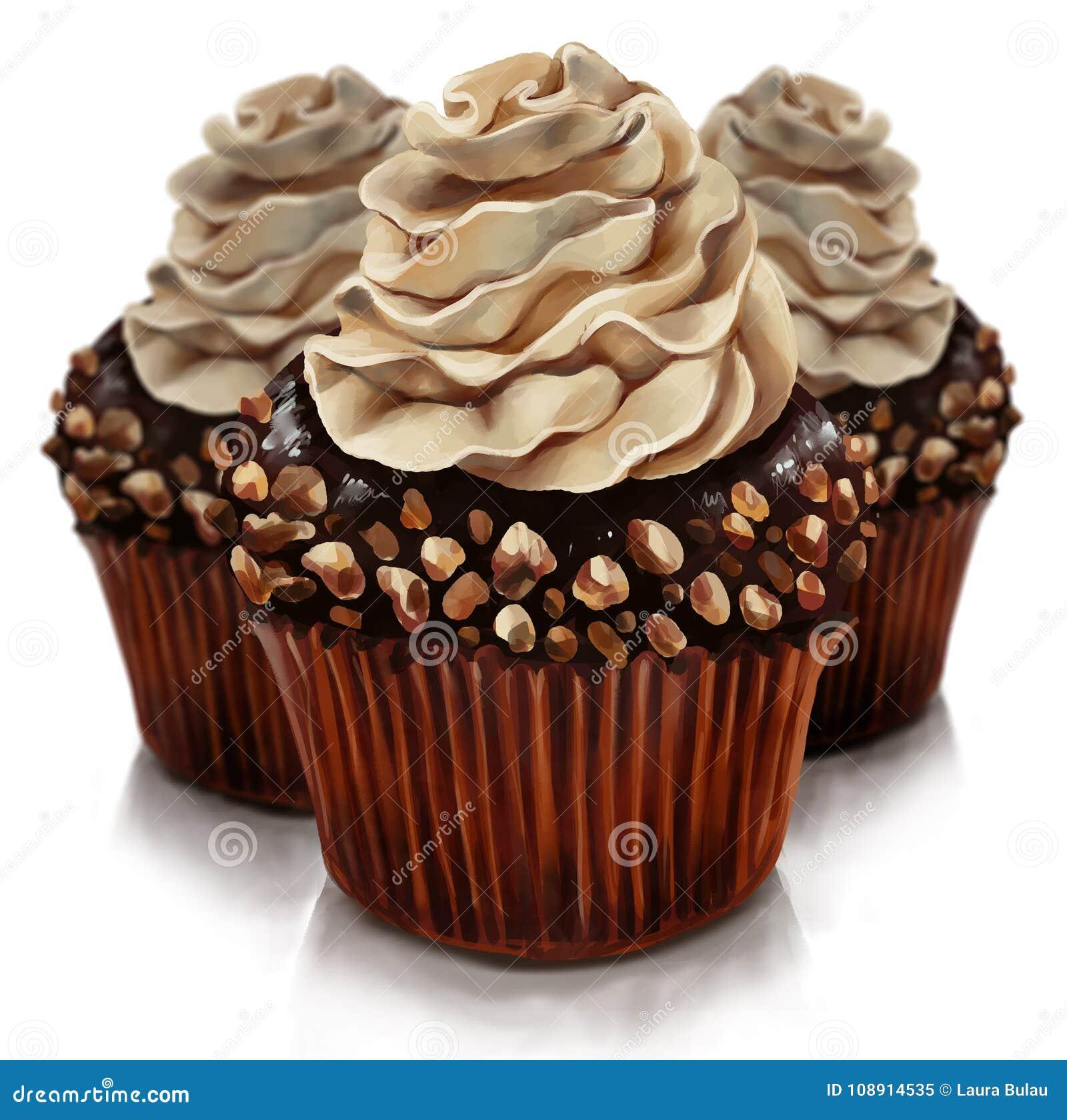 与amaretto奶油顶部的巧克力松饼