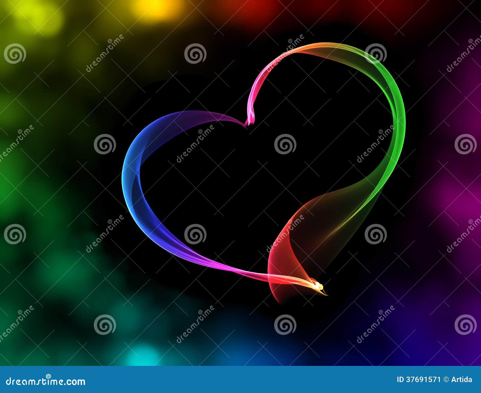 与bokeh光的五颜六色的心脏