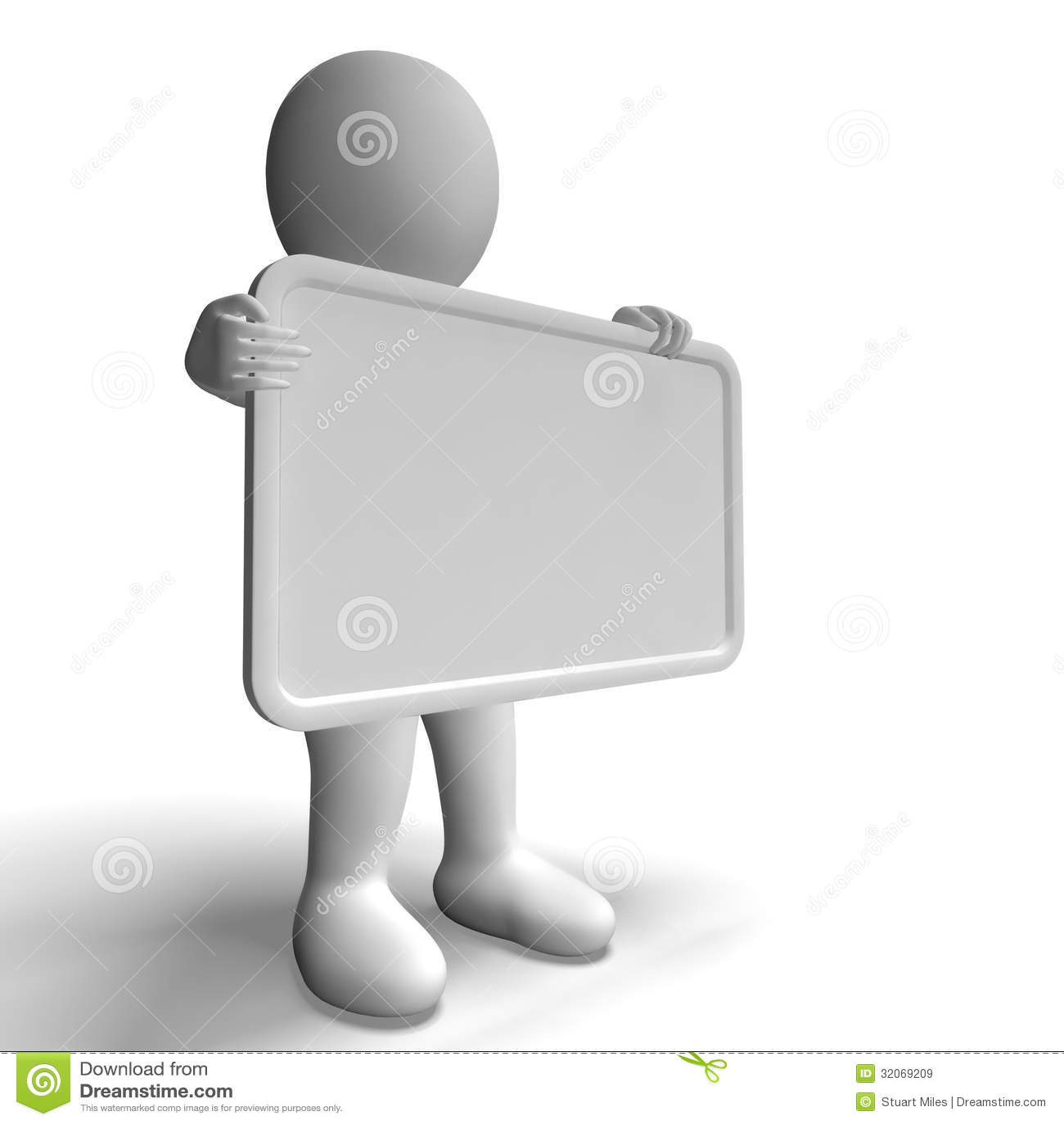与Copyspace的白色空白的标志包括3d字符免版税库