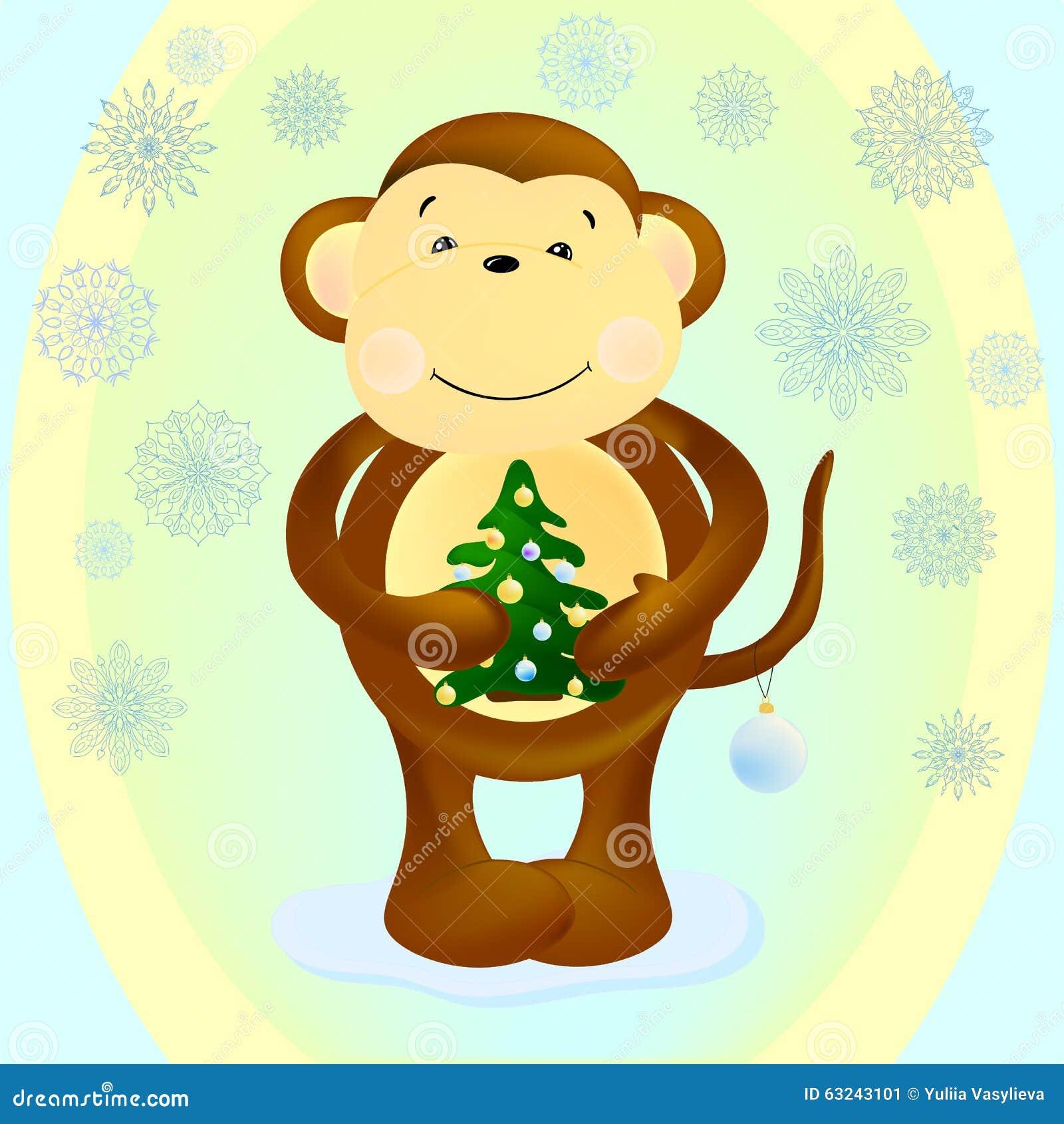 画猴子用什么颜色_猴子保留与黄色和蓝色球的圣诞树 图象背景是在绿色,黄色和蓝色颜色
