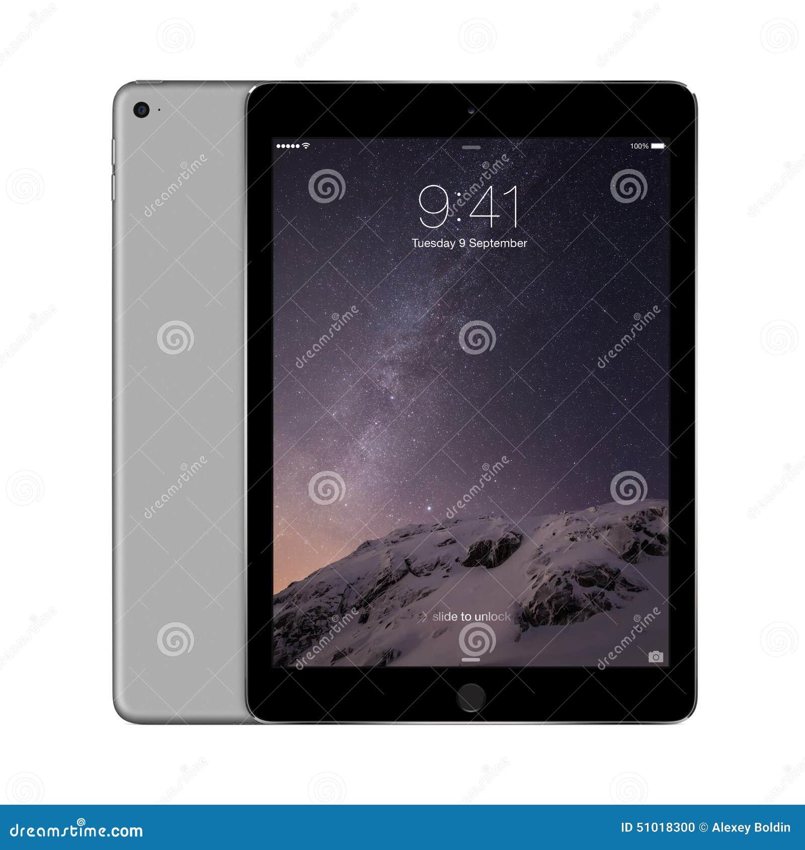 与iOS 8的苹果计算机空间灰色iPad空气2有在d的锁屏幕的