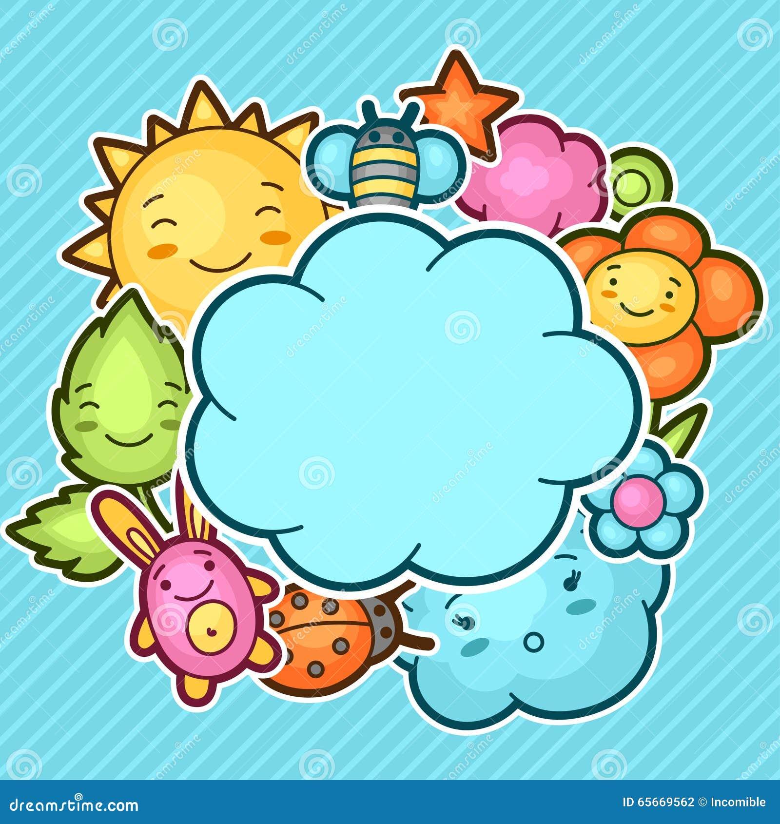 与kawaii乱画的逗人喜爱的儿童背景 快乐的漫画人物太阳,云彩,花,叶子的春天汇集