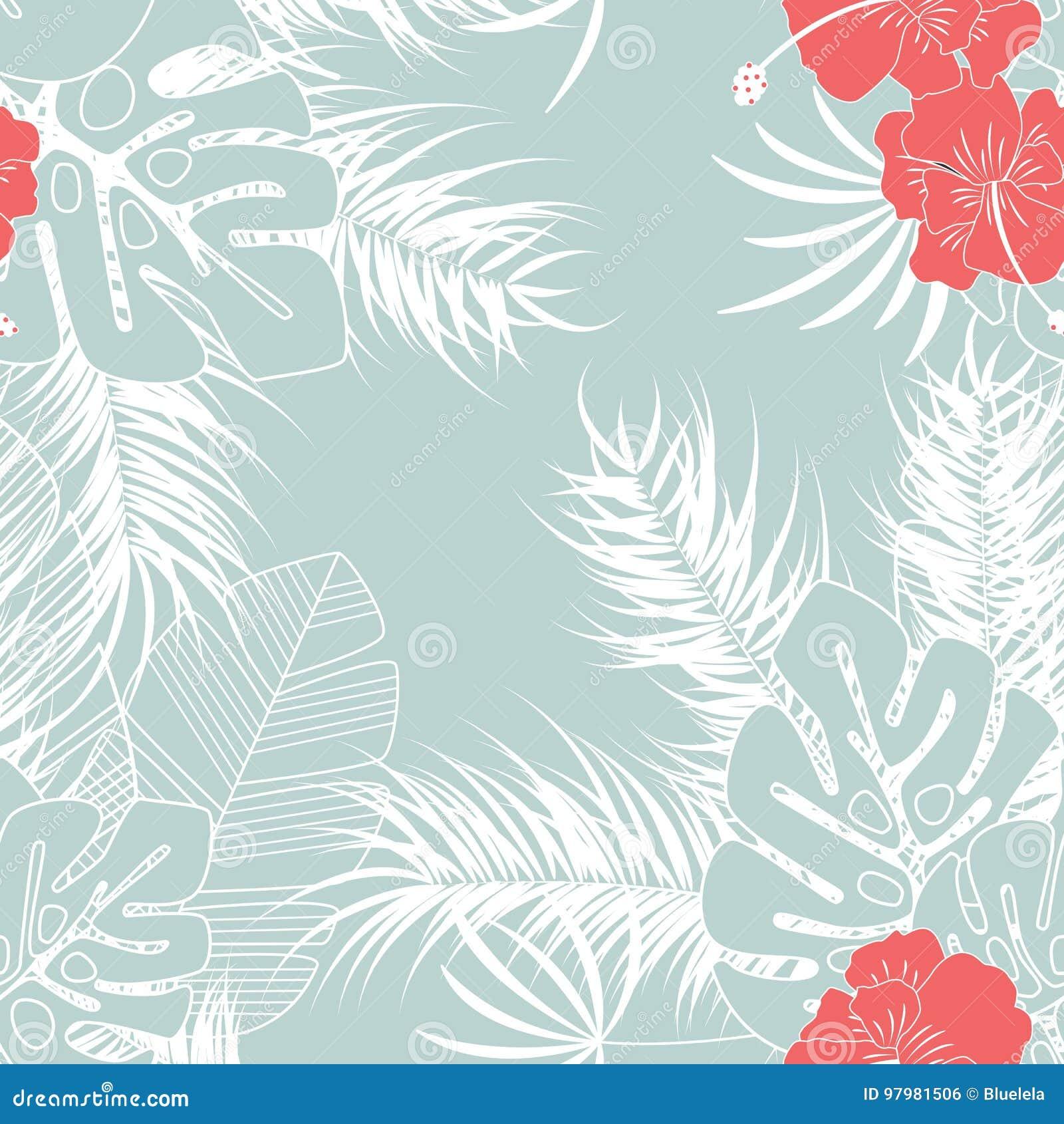 与monstera棕榈叶和花的夏天无缝的热带样式