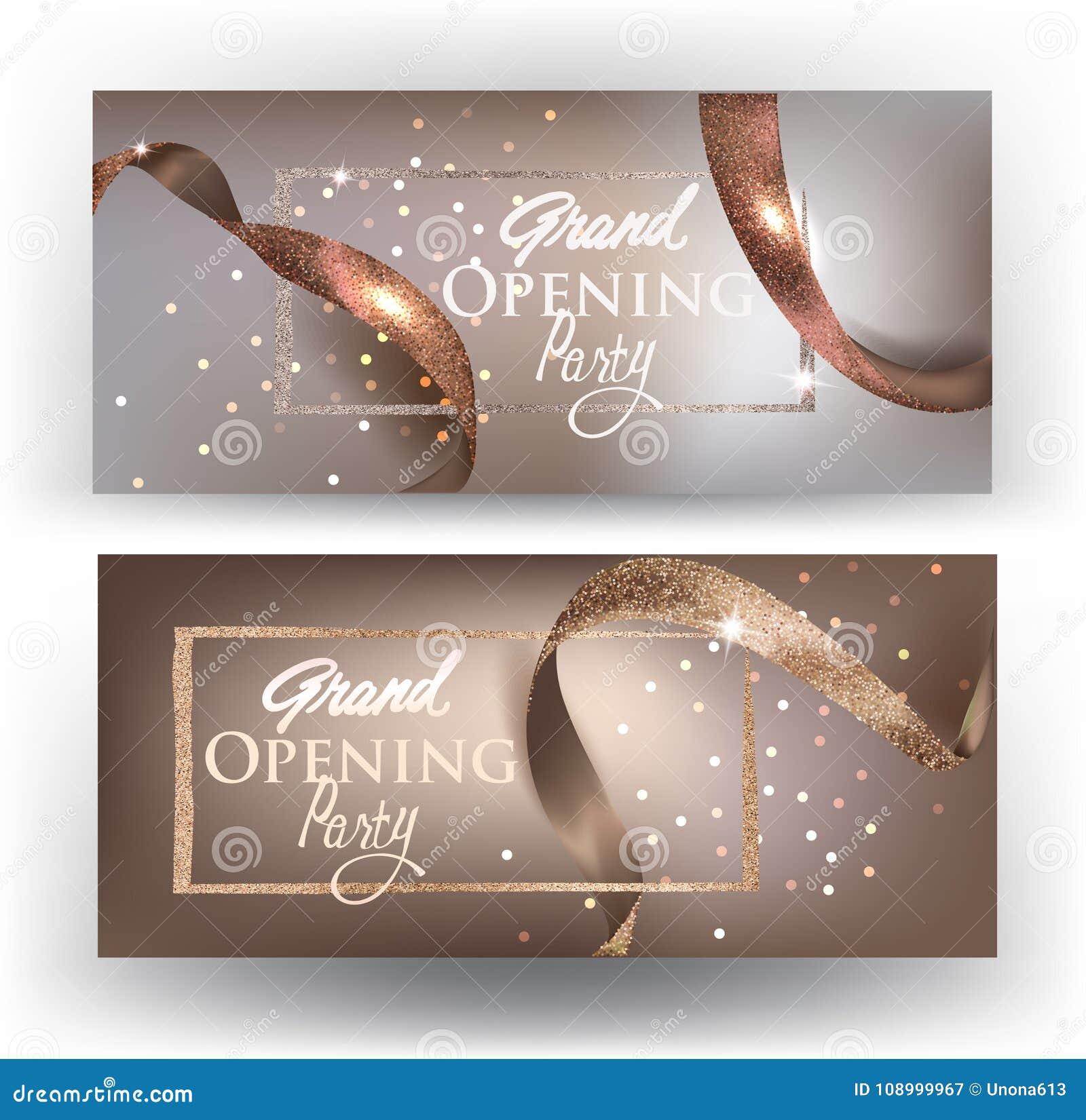 与realictic丝带的典雅的盛大开幕式米黄卡片