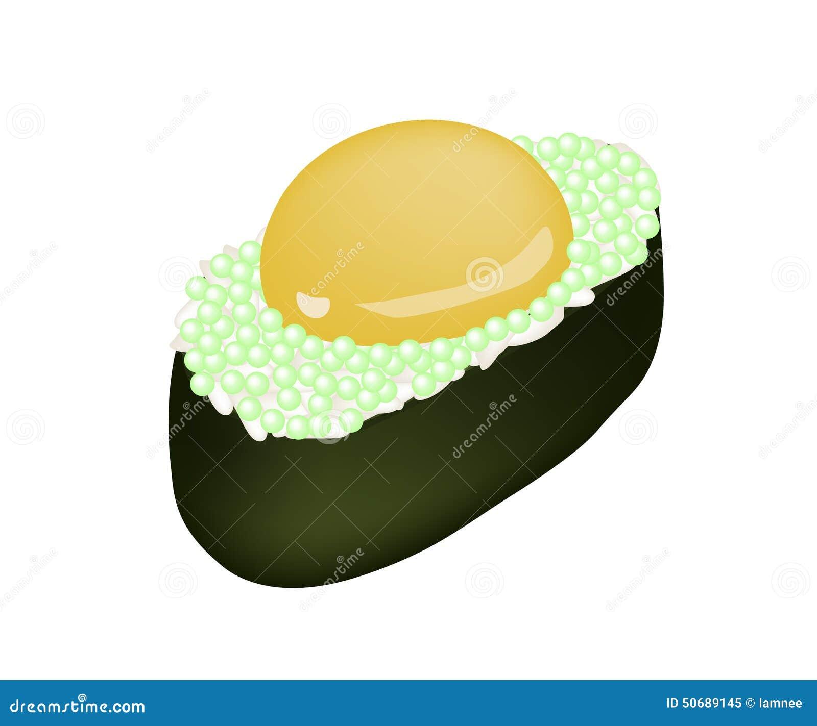 Download 与Uzura或未加工的鹌鹑蛋的绿色Tobiko寿司 库存例证. 插画 包括有 海鲜, 绘画, 营养, ,并且 - 50689145