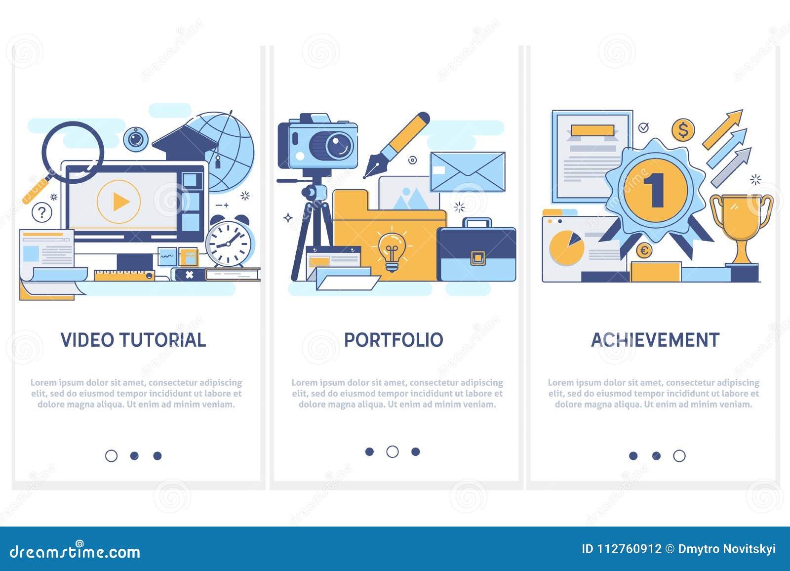 专业培训,教育 投资组合 高目标概念录影讲解的成就 平现代稀薄的线