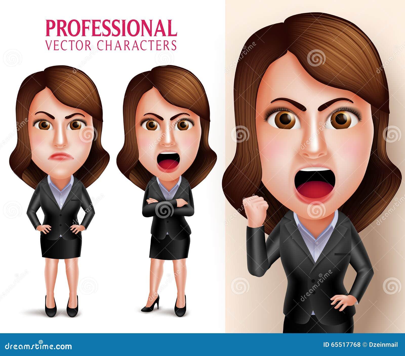 专业女商人传染媒介字符恼怒和疯狂象上司