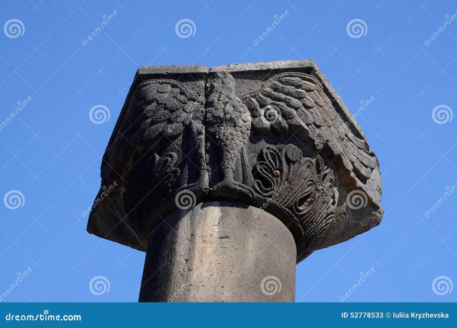 专栏的资本与老鹰形象, Zvartnots寺庙,亚美尼亚的
