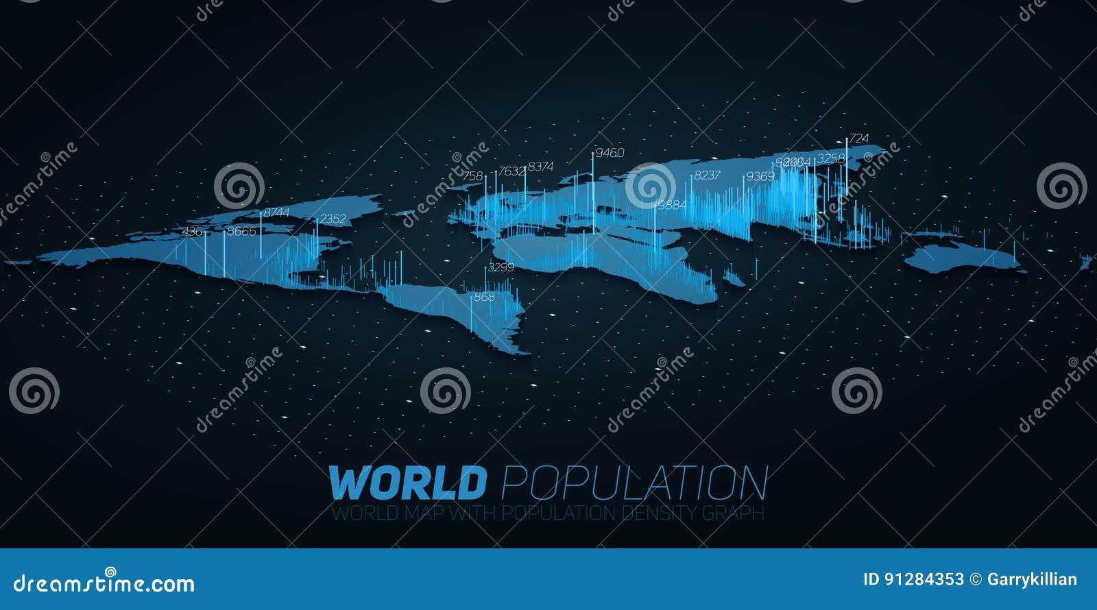 世界人口地图大数据形象化 infographic未来派的地图 信息美学 视觉数据复杂性
