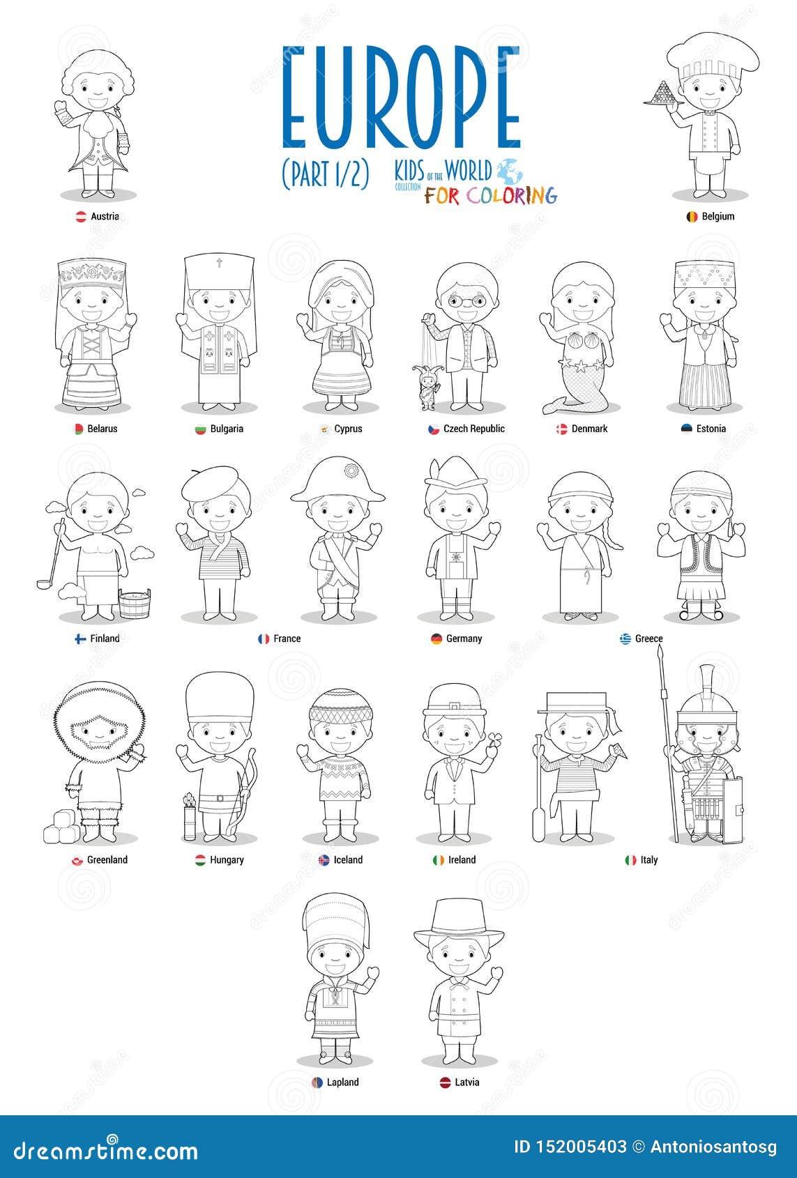世界传染媒介的孩子和国籍:欧洲设置了1 2 设置上色的22个字符穿戴在全国服装