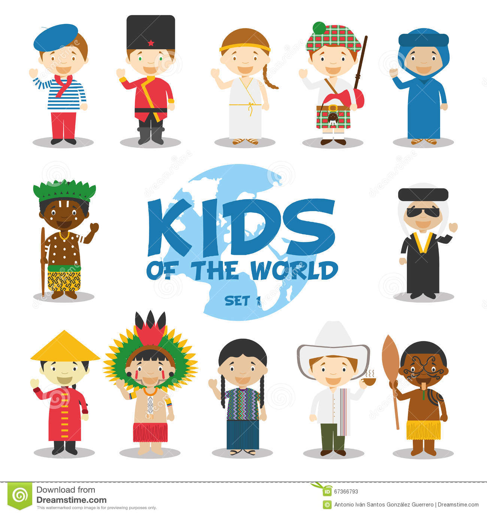 世界例证的孩子:国籍设置了1 套12个字符穿戴了用不同的全国服装