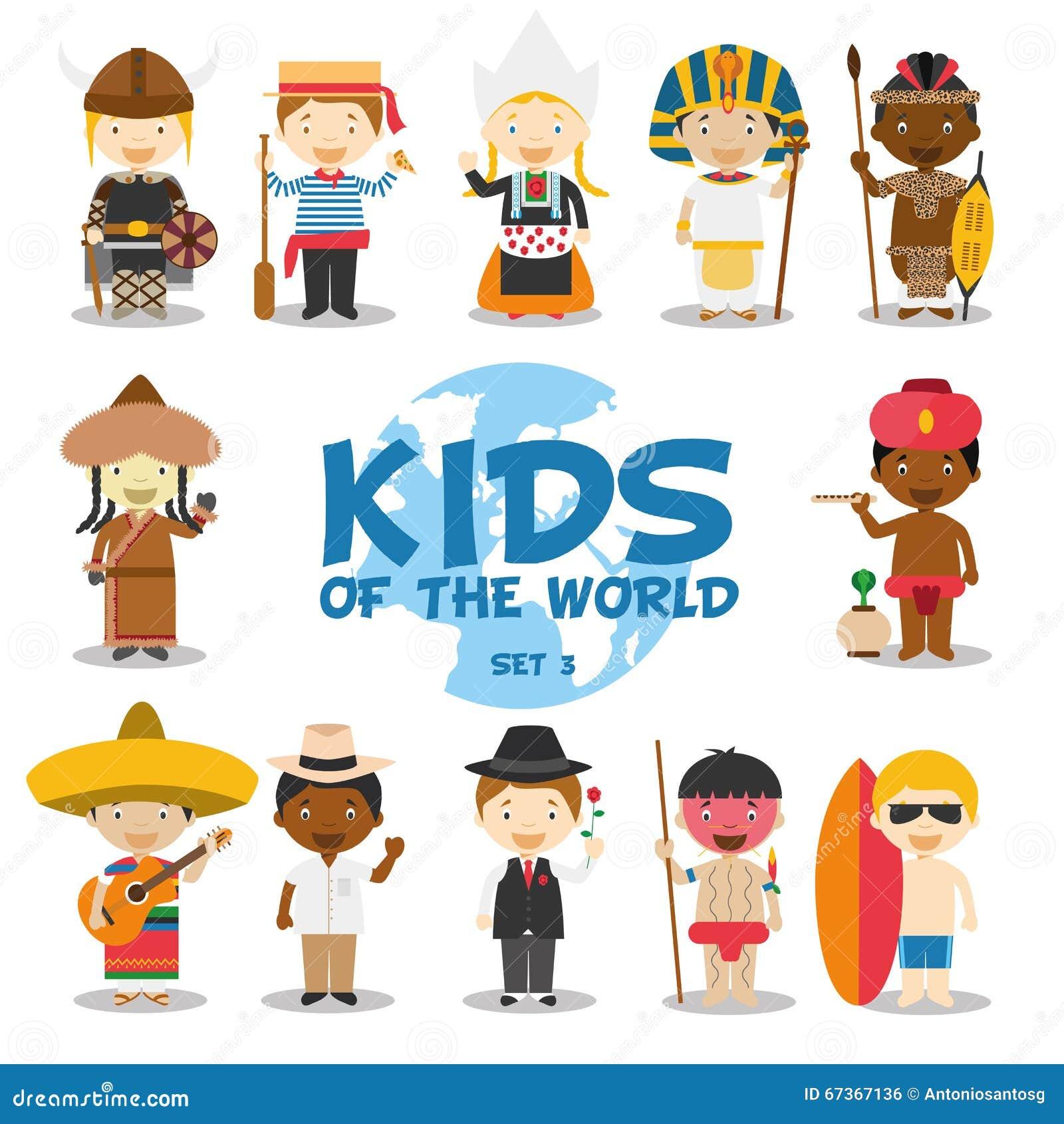 世界例证的孩子:国籍设置了3 套12个字符穿戴了用不同的全国服装