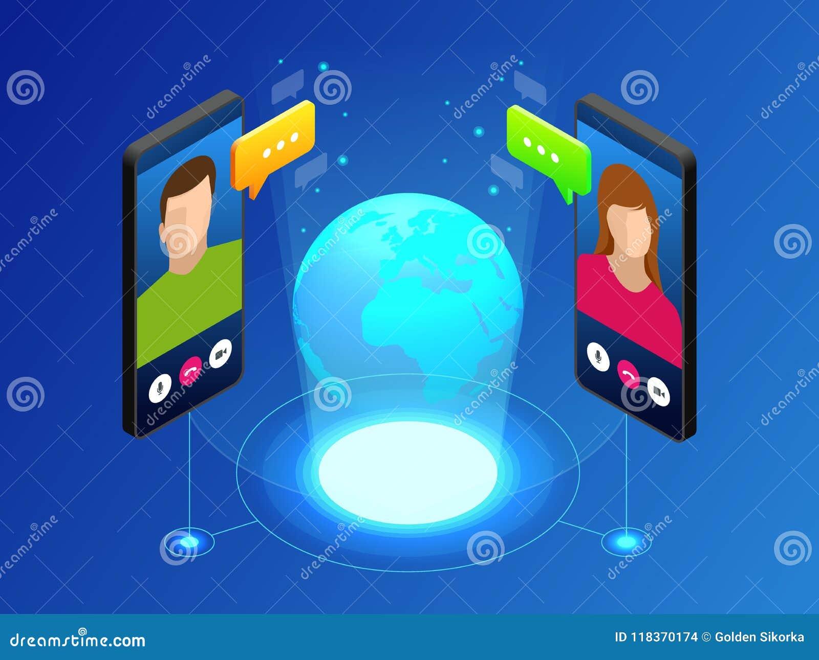 世界全球性通信的等量概念与长途的 沟通通过录影闲谈的男人和妇女