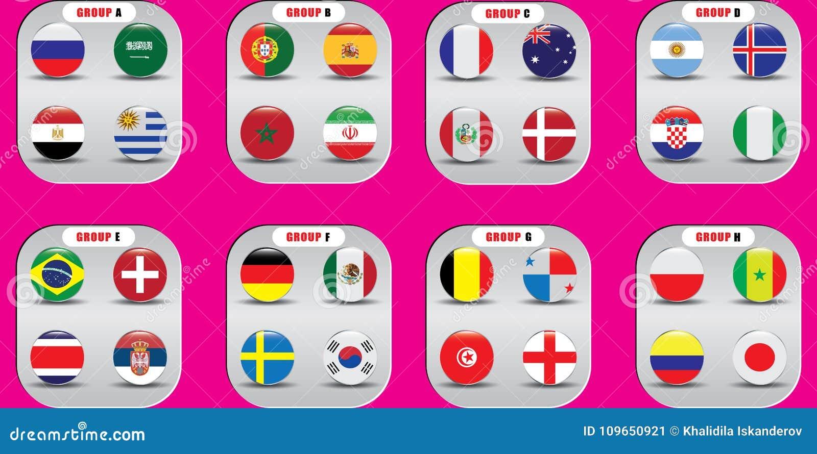 世界冠军 国家的传染媒介旗子 2018年在俄罗斯