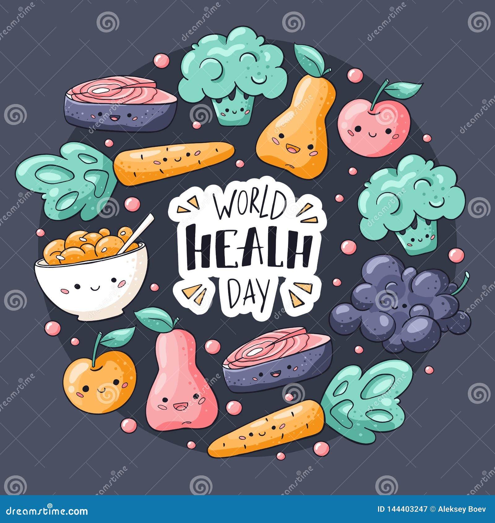 世界卫生日卡片 健康食品在乱画样式的贺卡 Kawaii梨,苹果,muesli,葡萄,硬花甘蓝,红萝卜