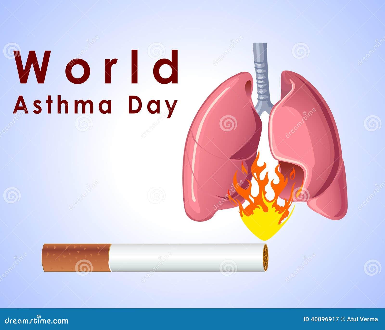 世界哮喘与香烟肺的天背景和在蓝色背景的时髦的文本导航eps 10图片