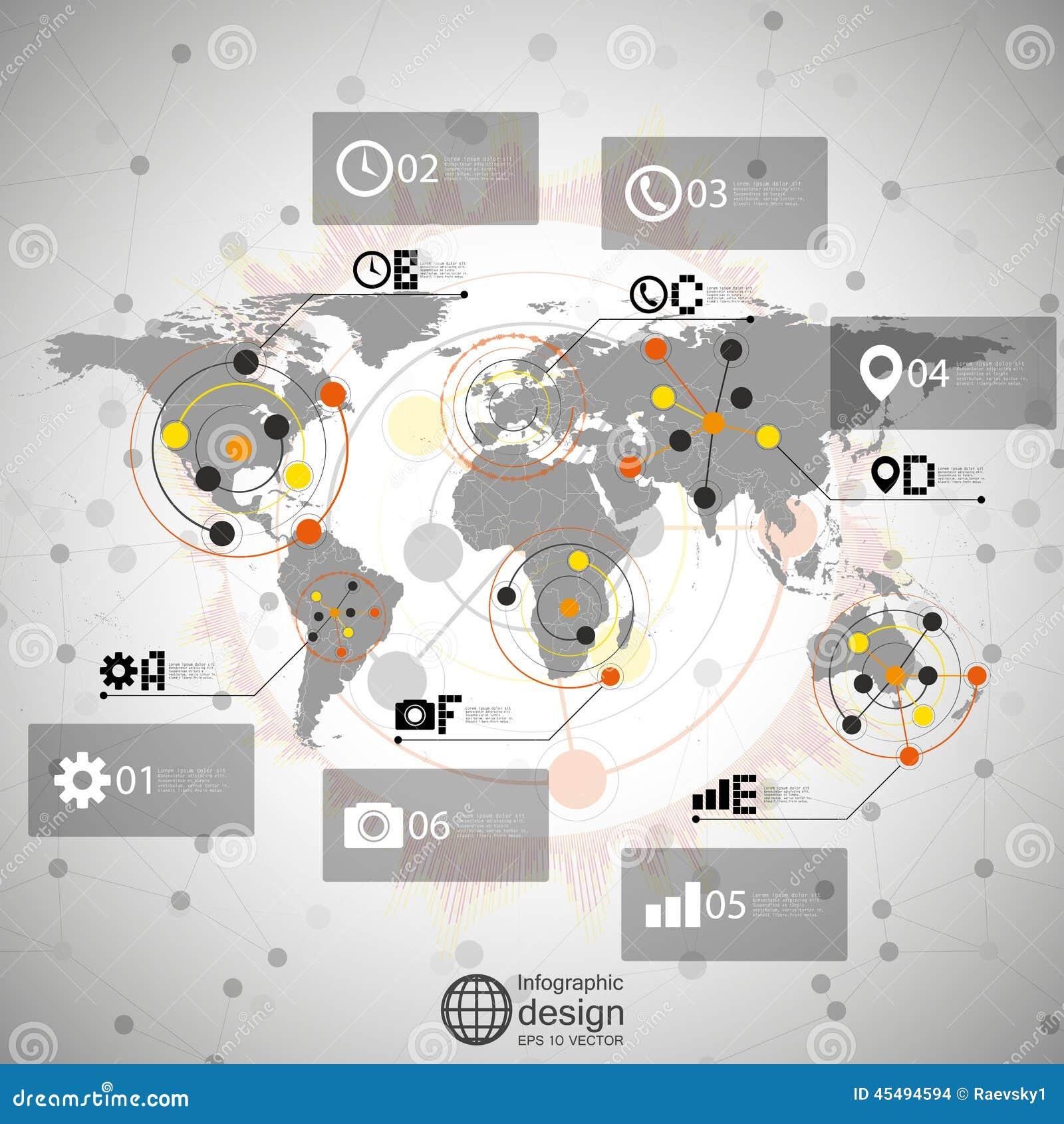世界地图传染媒介, infographic设计例证