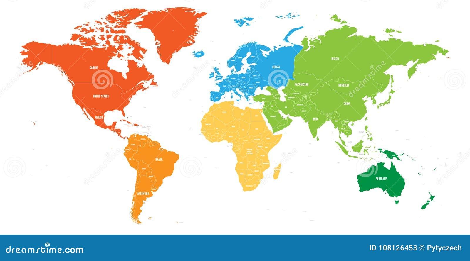 世界地图划分了成六个大陆 另外颜色的每个大陆 简单的平的传染媒介例证