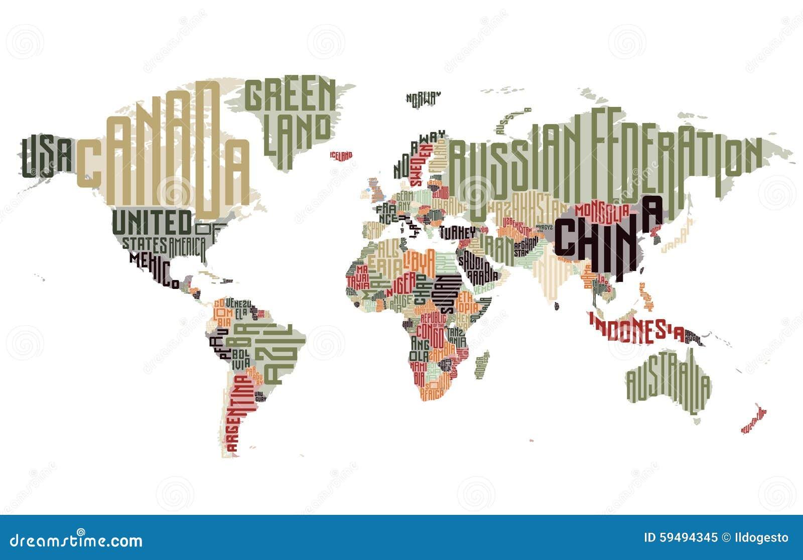 世界地图由印刷国名做成