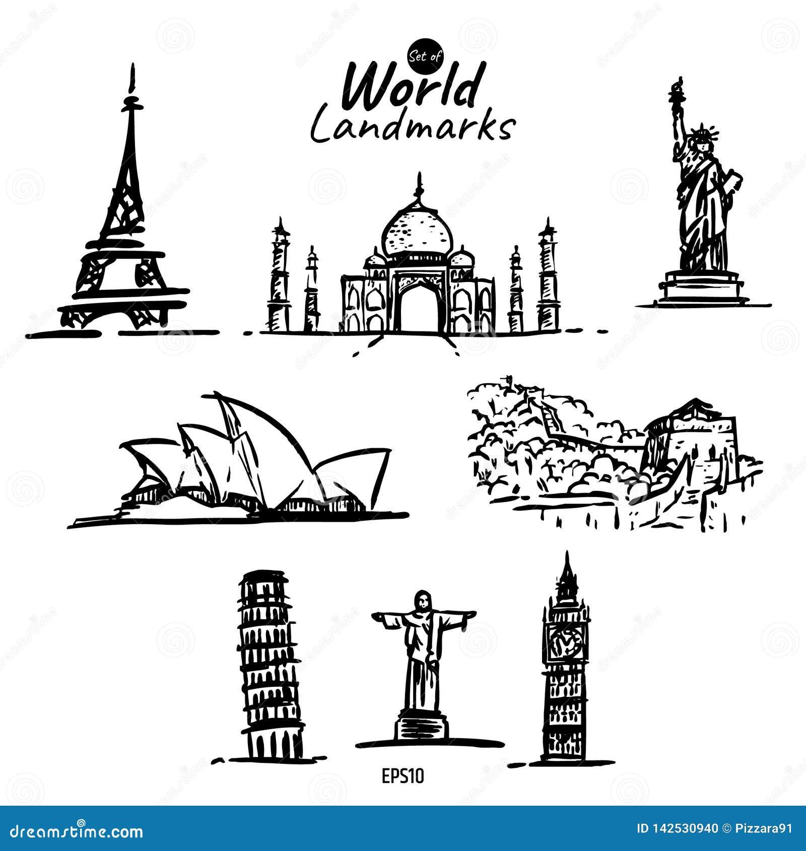 世界地标剪贴美术象
