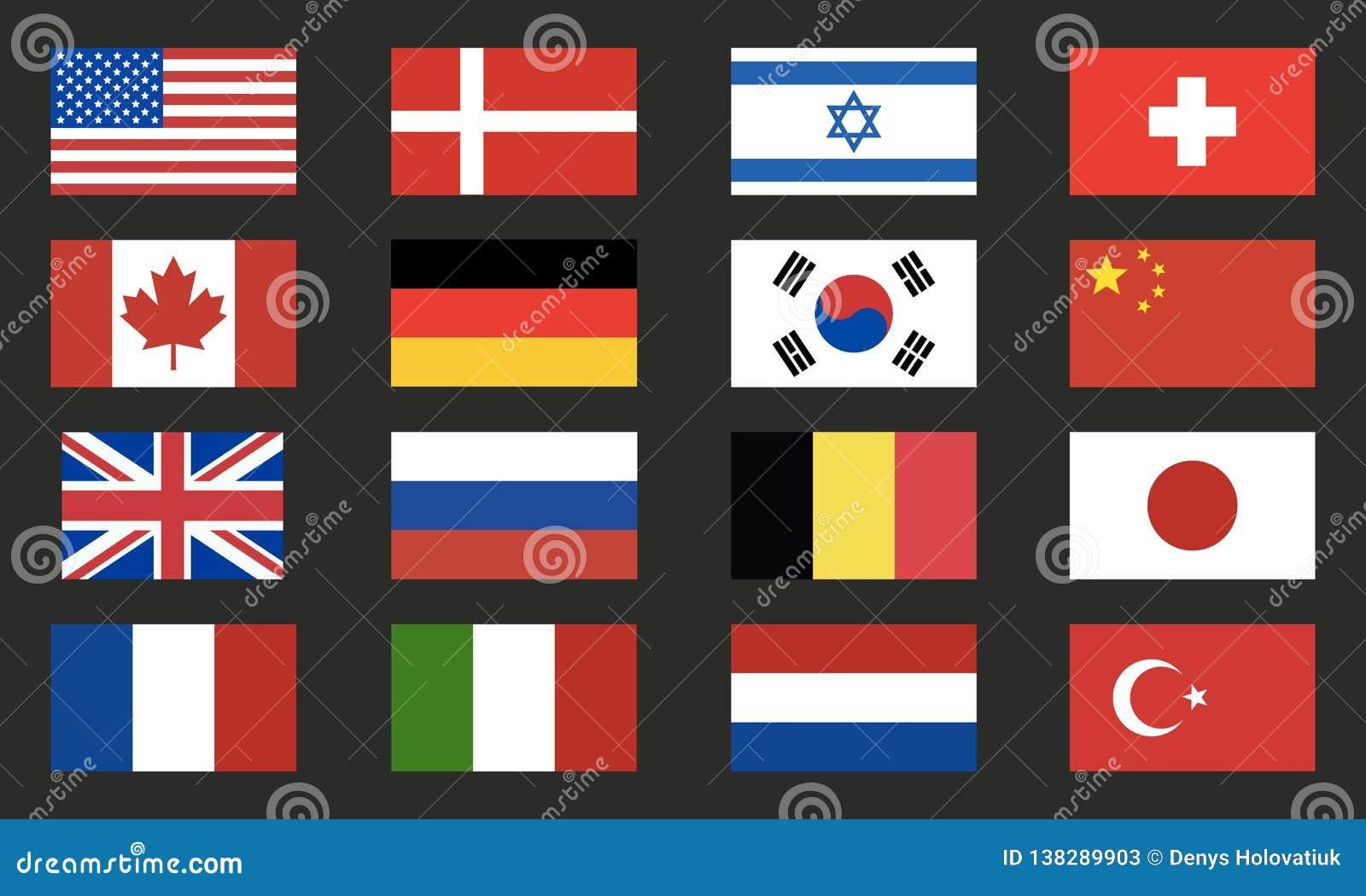 世界旗子导航集合 世界在黑背景隔绝的旗子象 背景设计要素空白四的雪花