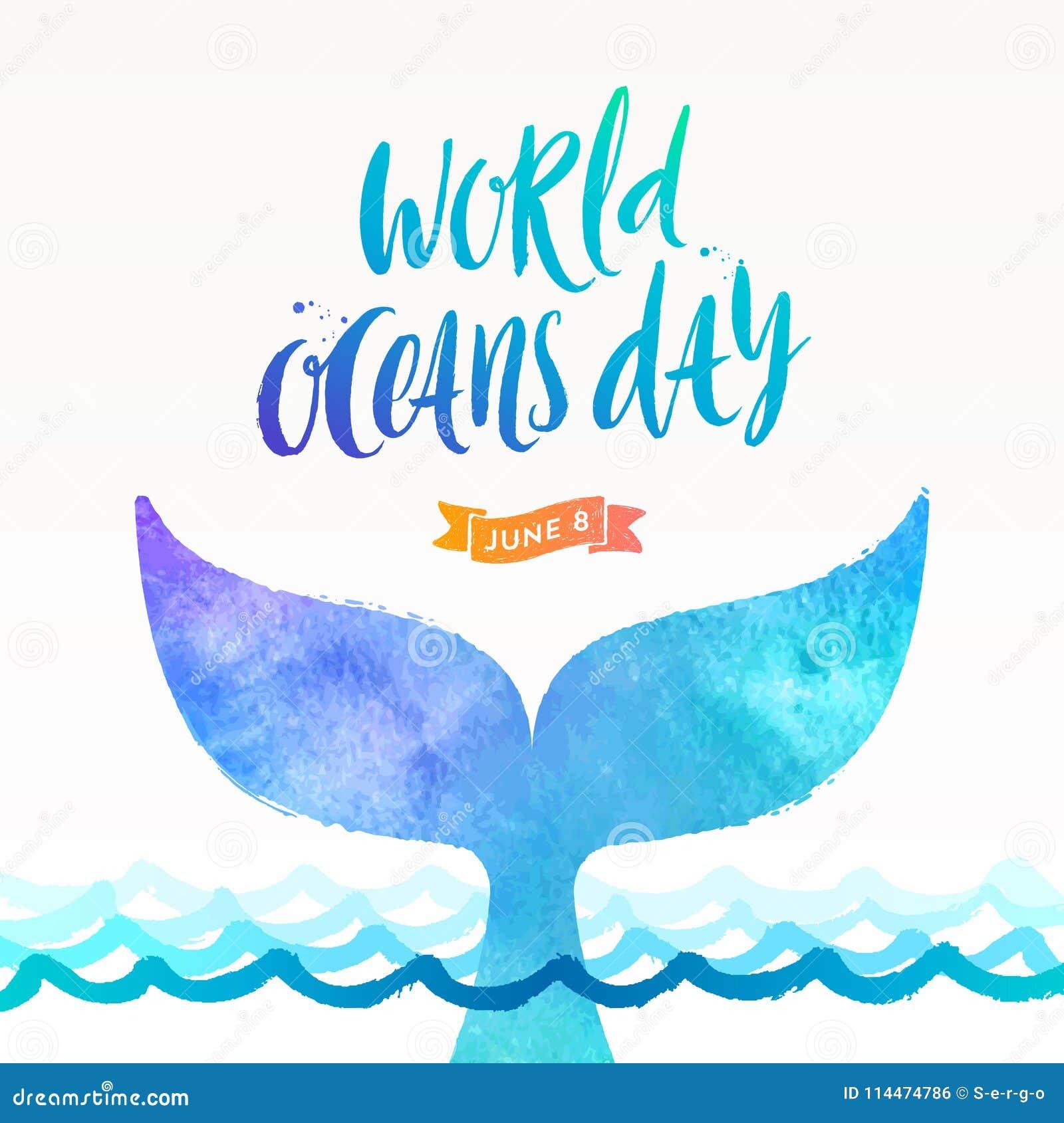 世界海洋天例证-掠过书法和下潜鲸鱼的尾巴在海洋表面上的