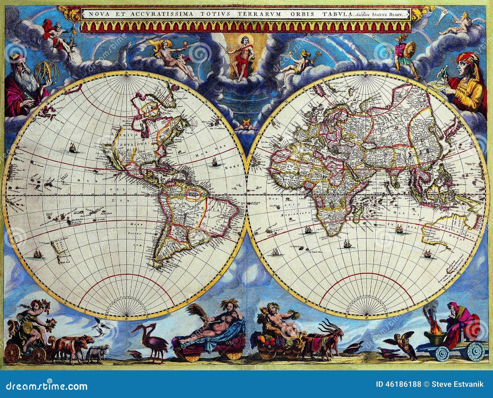 世界的古色古香的地图