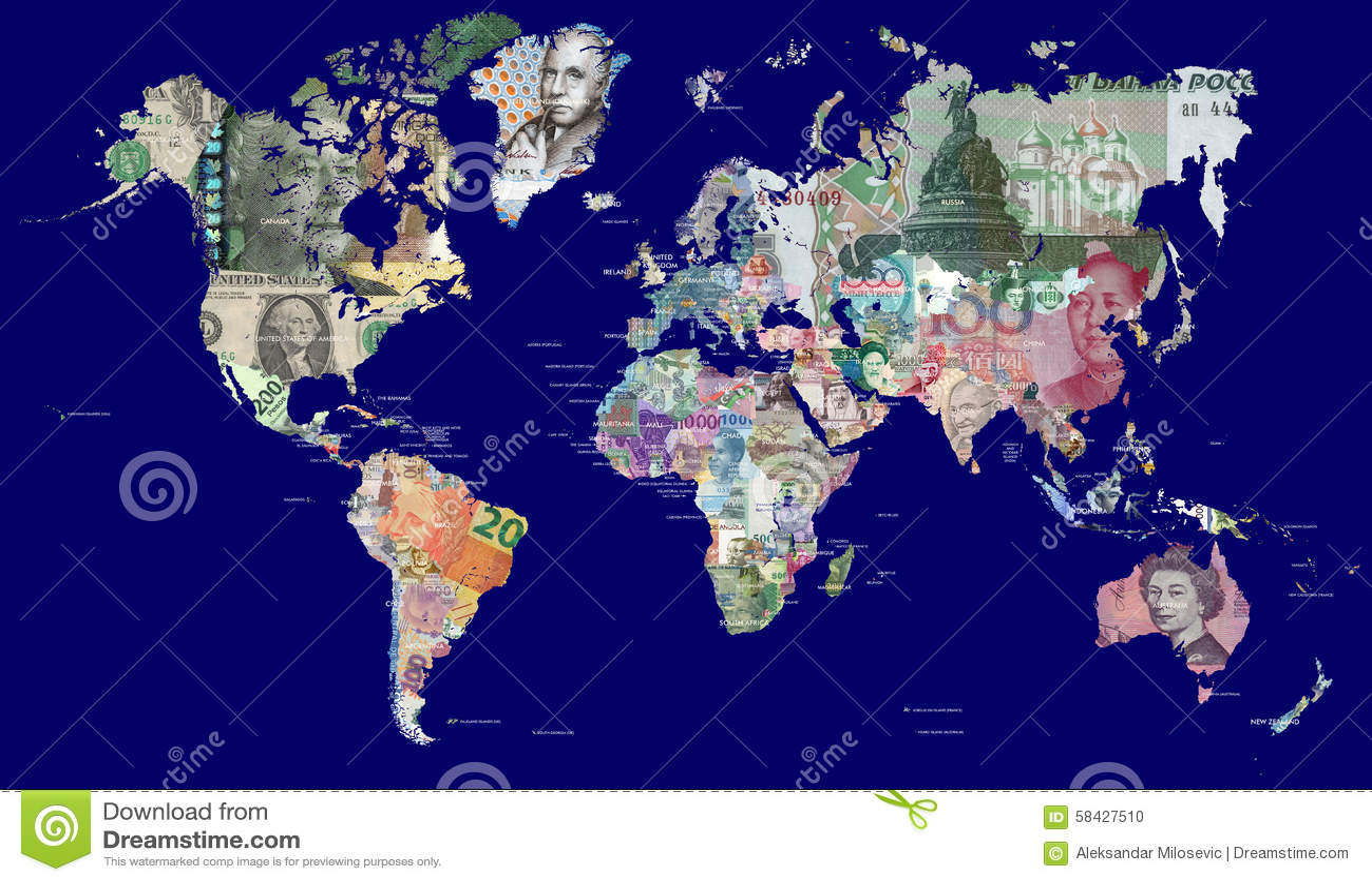 世界的地图在货币的