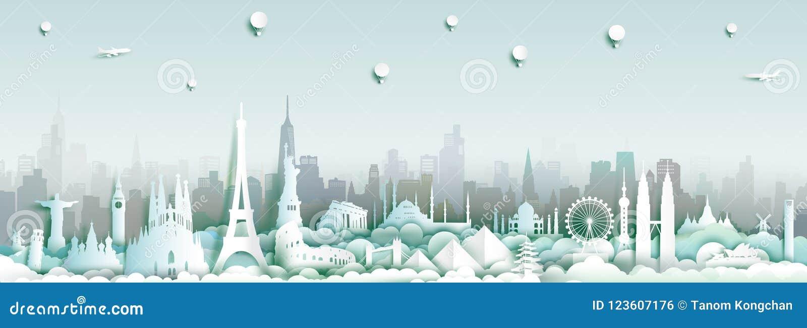 世界的地标有城市地平线背景