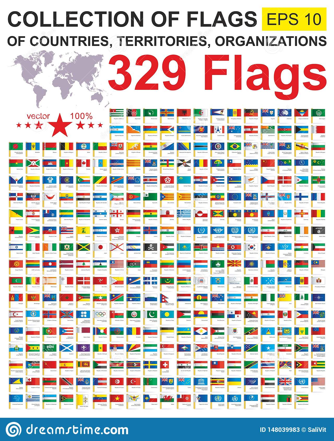 世界的旗子 汇集主权国家、疆土和组织世界旗子与名字 完全汇集worl