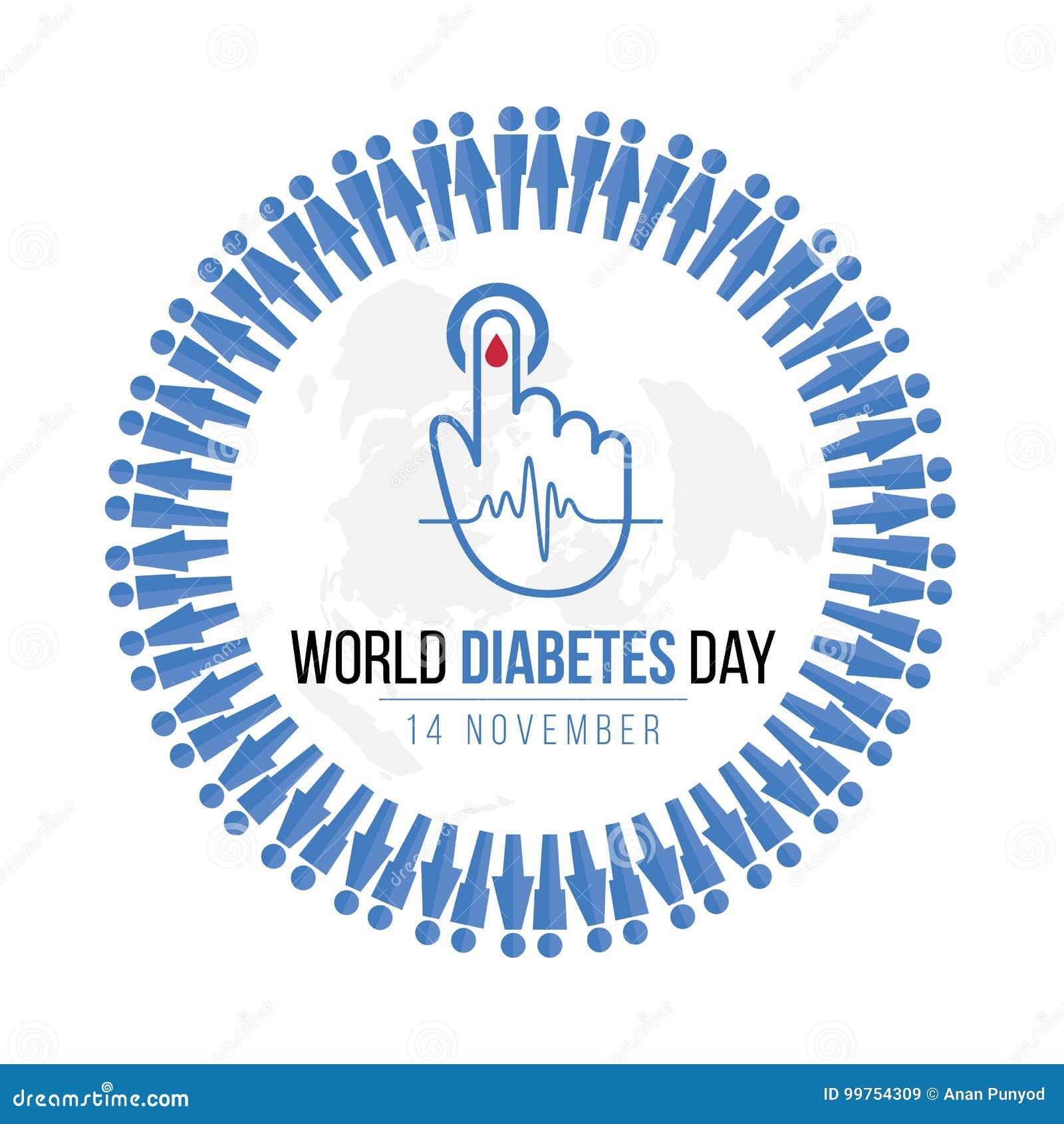 世界糖尿病与蓝色人的象圈子的天了悟和血液为血糖水平在手边下降并且挥动在地图的脉冲标志