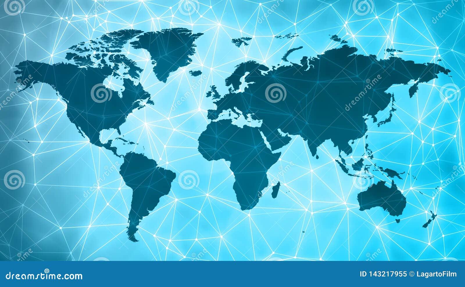 世界网络连接几何抽象概念小点和线样式