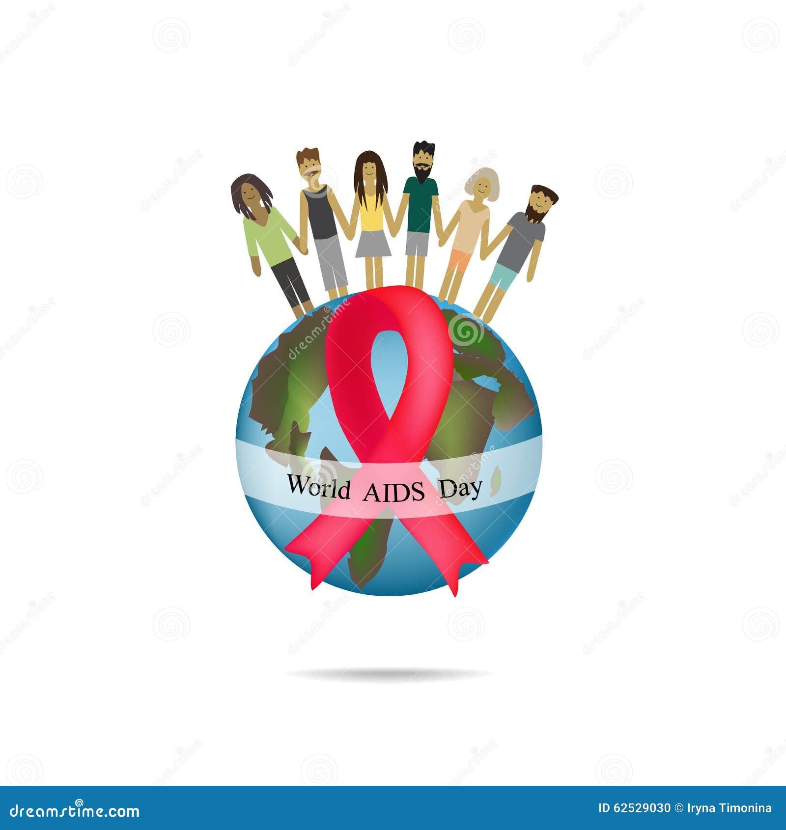 世界艾滋病日 与红色丝带的地球 人举行手 也corel凹道例证向量