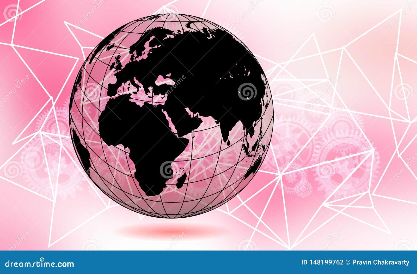 世界透明地球地球 全球性通信企业概念 紫外色的图象 Th的颜色