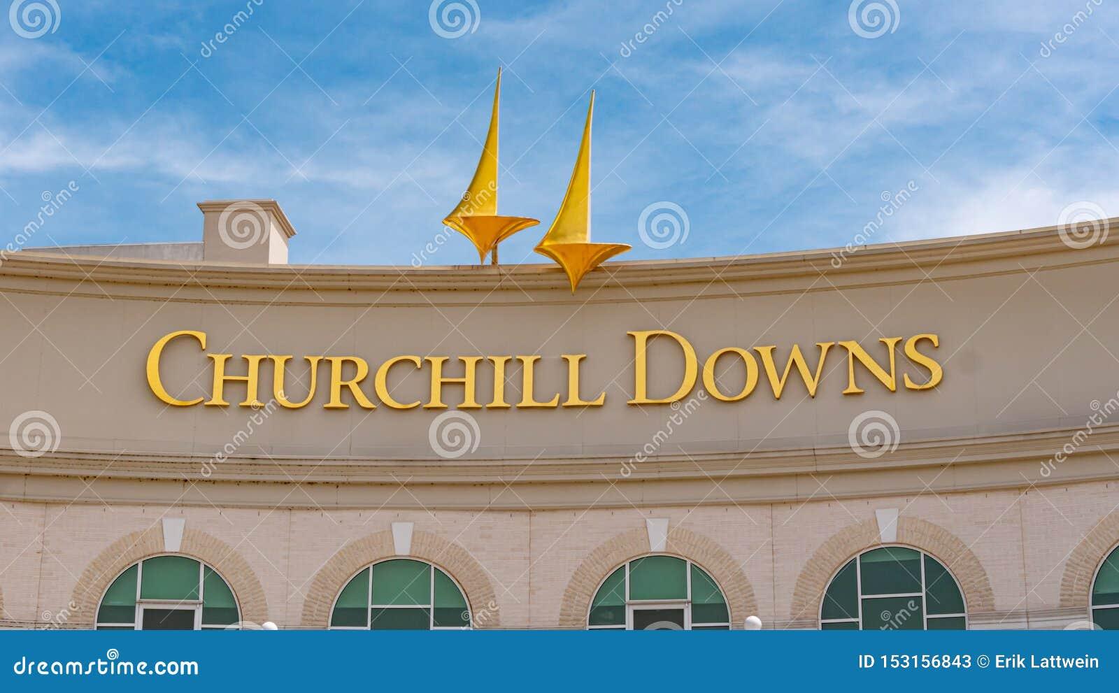 丘吉尔Downs跑马轨道在路易斯维尔肯塔基-路易斯维尔,美国- 2019年6月14日